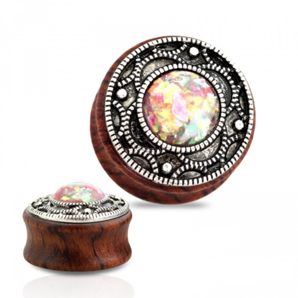 Pair Of Antique Silver Filigree Top Glitter Opal Centered Sono Wood Double Flared Tunnels