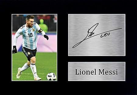HWC Trading Lionel Messi A4 Sin Marco Regalo De Visualización De Fotos De Impresión De Imagen Impresa Autógrafo Firmado por Argentina Barcelona Los Aficionados Al Fútbol: Amazon.es: Hogar