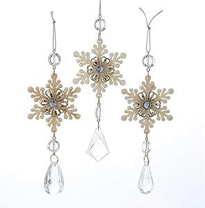 Kurt Adler Snowflake Drop Christmas Ornaments 3 Assorted