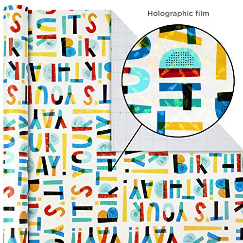 Hallmark Birthday Wrapping Paper Bundle with Cut Lines on Reverse (3-Pack: 55 sq. ft. ttl.) Bright and Holographic…