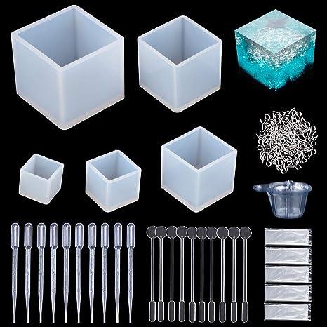 Molde de Joyas Silicona 145 PC, 5 Cubo de Forma Molde Silicona+ 100 piezas de