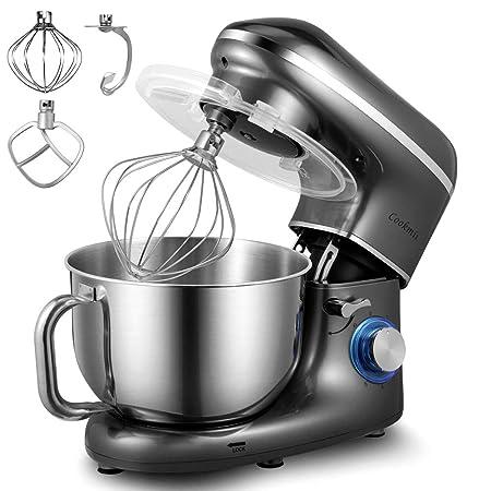 Cookmii Batidora Amasadora De Pan Profesional,1500W Silencioso Robot de Cocina de 6 Velocidades con Recipiente de Acero Inoxidable de 5,5 litros,Gris