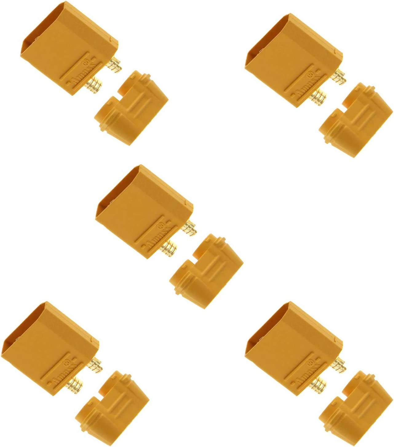 Amass XT90//XT90-S Male Battery Connector Plug for Device or Charge Lead 5 Piece