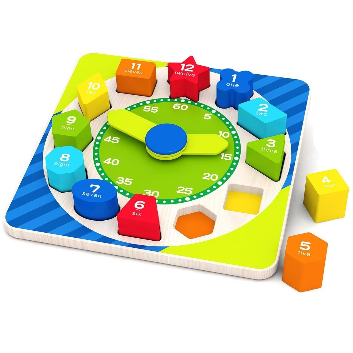 Big Spanich Wooden Shape Sorting Numbers Shapes Educational Toys Kids 18 Months Old Above (Learning Clock) Interactivity Study Skills