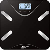 Active Era® Body Fat Bathroom Scales - Ultra Slim Analyser with BF%, BMI, Age, Weight and Height - Black