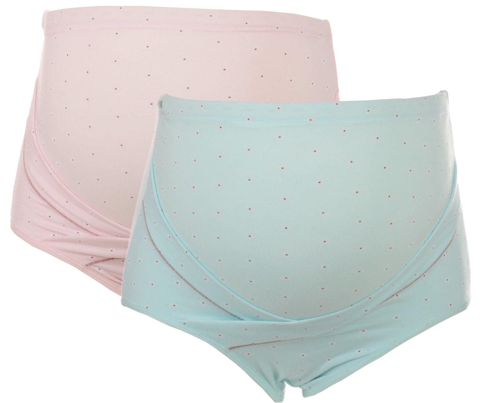 Unilove Comfortable Maternity Underwear Panties Over Bump Pregnant Women Briefs (M/L, Pink & Blue)