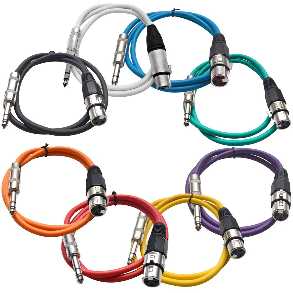 Seismic Audio - SATRXL-F2-Multi - 8 Pack of 2 Foot Multi-Color XLR Female to 1/4 Inch TRS Patch Cables 2' Pro Audio Balanced XLR-F to 1/4'' Patch Cords DJ