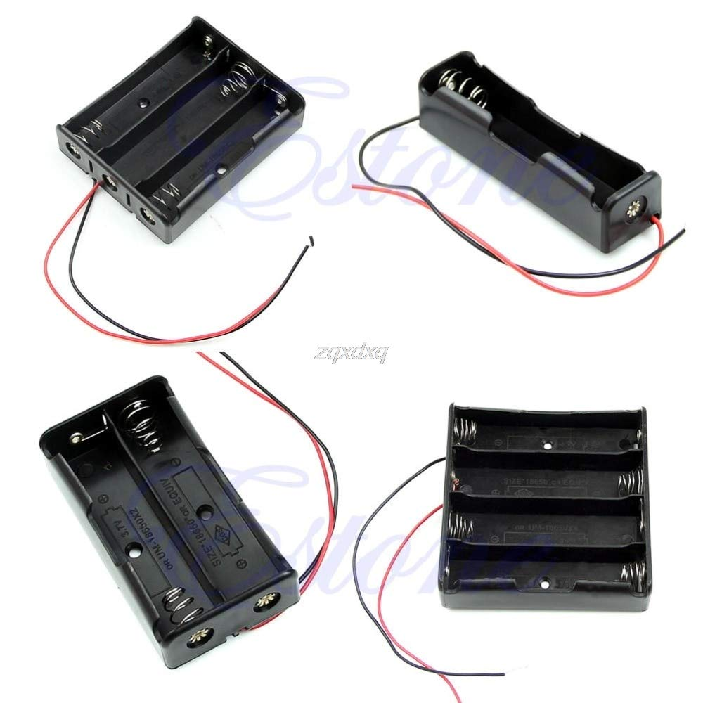 1 PC New Black Plastic Storage Box Case Holder for Battery 18650 with 6'' Wire Leads Drop Ship Electronics Stocks
