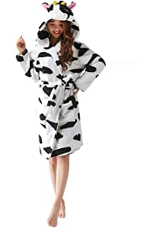 a247b56129 vimans Womens Soft Flannel Night Robe Lovely Animal Hooded Robe Night Gowns