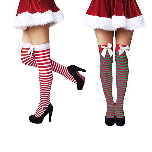 d436511b7 Amazon.com  Another Me Women s Cute Sexy Nylon Knee Highs Thigh High  Stockings with Satin Bows 29.5