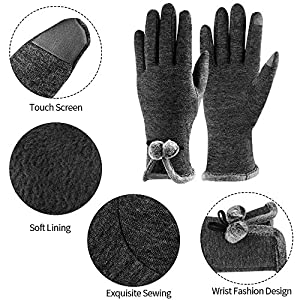 Winter Touch Screen Gloves,IEKA Thick Warmest Windproof Gloves,Fashion Touch Screen Fingers,Suitable for Smartphones and Touchscreen Devices - Gray