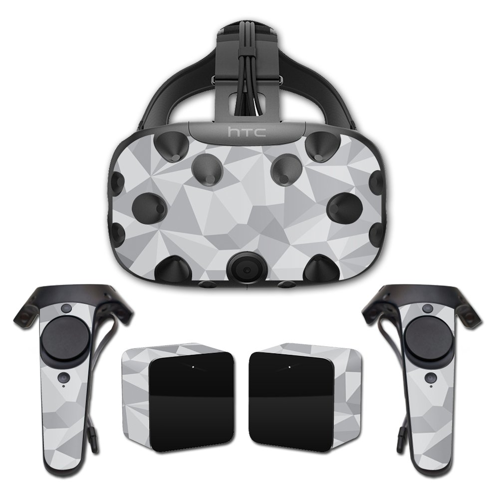 MightySkins Skin For HTC Vive Full Coverage - Gray Polygon | Protective, Durable, and Unique Vinyl Decal wrap cover | Easy To Apply, Remove, and Change Styles | Made in the USA