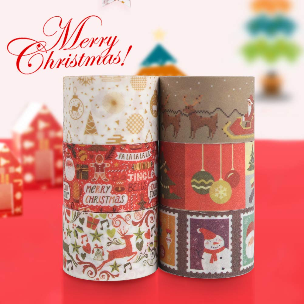 Christmas Tape 12 Rolls DIY Sticker Decorative Masking Tape Easy Tear Packaging Tape