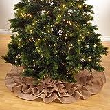 "Saro LifeStyle 0516.N56R  Ruffled Design Jute Tree Skirt, Natural, 56"""