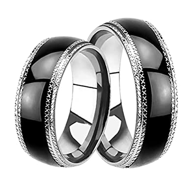 ac3c38d48ba1f9 Amazon.com: LaRaso & Co His and Hers Black Wedding Rings Set Matching  Wedding Bands Ring Set for Him and Her: Jewelry
