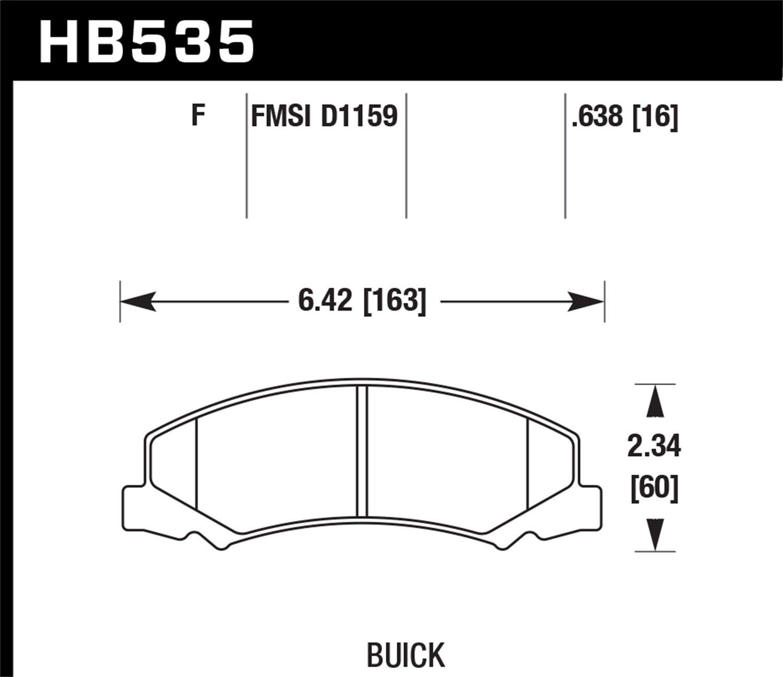 Hawk Performance HB535F.638 HPS Performance Ceramic Brake Pad
