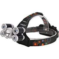 LED Headlamp, Rechargeable 18650 Headlight Flashlight 5 LEDs Waterproof Hat Light for Camping Hunting Fishing Cycling Running