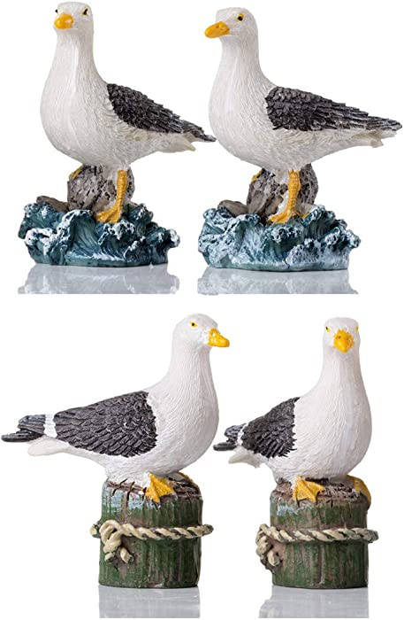 HOMERRY Garden Bird Statue - 4pcs Small Seagull Décor Birds Figurines Ornaments - Best Indoor Outdoor Statues Yard Art Figurines for Patio Lawn House