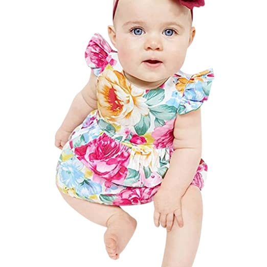 ShiTou Sleeveless Floral Printing Party Outfits Summer Infant Cactus Romper (Multicolor, 70)