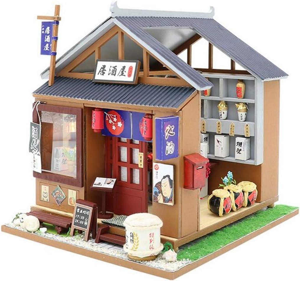 Wooden DIY Dollhouse Miniature Furniture Kit LED Light Assembled Craft Toys Gift