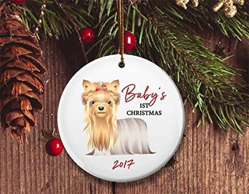 New Dog mom Christmas ornament, Baby's 1st Christmas, Yorkshire Terrier puppy, Yorkie- Dated 2017