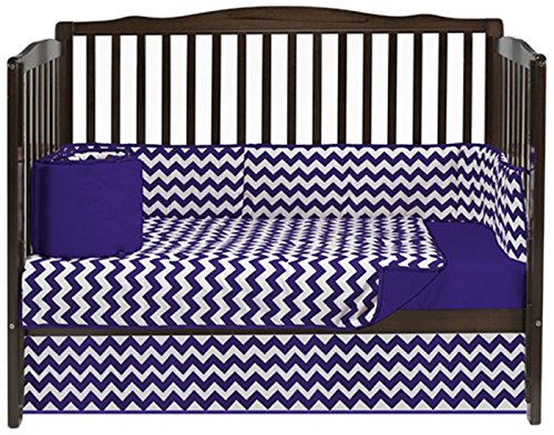 (Baby Doll Bedding Chevron 4 Piece Crib Bedding Set, Plum)