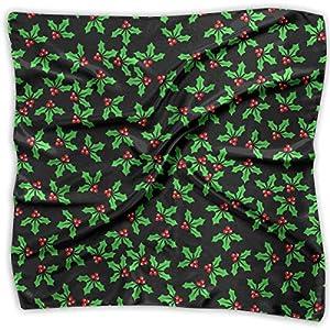 Ladies Vintage Christmas Holly Berries Pattern Print Square Handkerchiefs Bandanas Head & Neck Tie Scarf