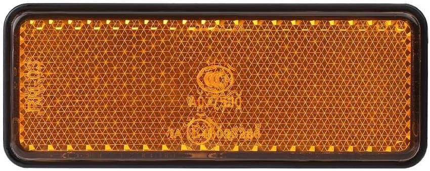 12V 2.4W Moto universelle Scooter Cyclomoteur Rectangle LED R/éflecteur feu de stop Lampe Stop Convient pour la plupart des motos Blanc Jaune Rouge Lumi/ère de frein de queue de moto Yellow