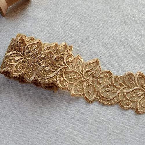 Shoppy Star 2 metros de oro, color negro, encaje bordado, vestido de novia, accesorios, adornos de encaje, hermoso tejido de...