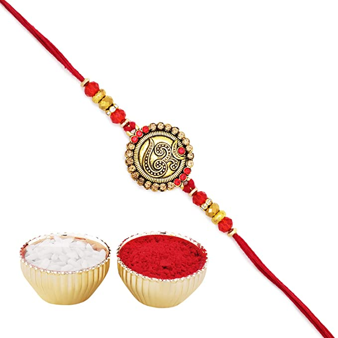 Archies® Shiva Rakhi with Artificial Silver Stones and Beautiful Beads and  Pearls in Fancy Blue Mauli with Roli Chawal for Rakshabandhan, for