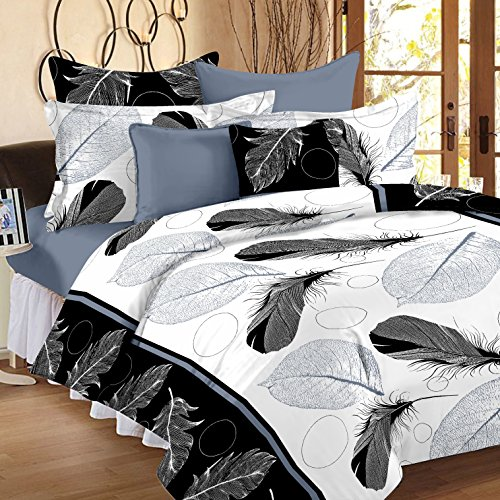 Ahmedabad Cotton Comfort 160 TC Cotton Double Bedsheet with 2 Pillow Covers - Multicolour