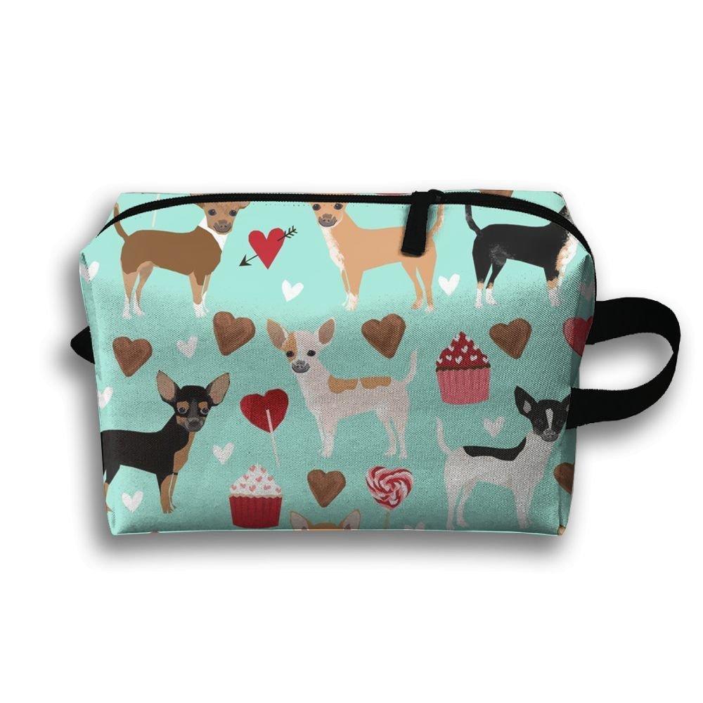 チワワLove Toiletry bag-portable Travel Organizer Cosmetic Make Up Bag Case forレディースメンズシェービングキットwith Hanging Hookハワイアンを   B078HZML98