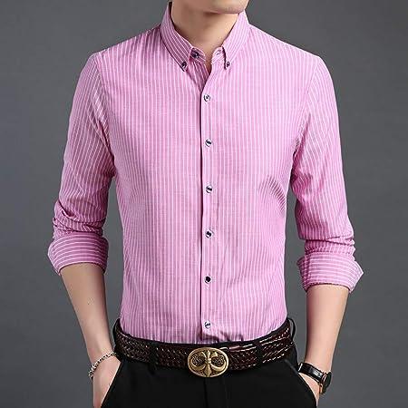 CSDM Camisa de Hombre Camisa de Marca de Moda Hombre Button Up Regular Fit Street Wear Camisa de Manga Larga a Rayas Camisas de Vestir: Amazon.es: Hogar