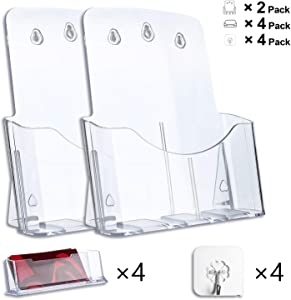2 Pack Acrylic Brochure Holder 8.5 x 11 inches, Clear Flyer Holder with 4 Business Card Holders, Magazine, Document, Booklet Display Stand Holder for Wall/Office Tabletop, Including 4 Adhesive Hooks