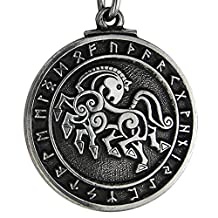 Pewter Norse God Odin Sleipnir Horse Pendant - Viking Necklace Jewelry
