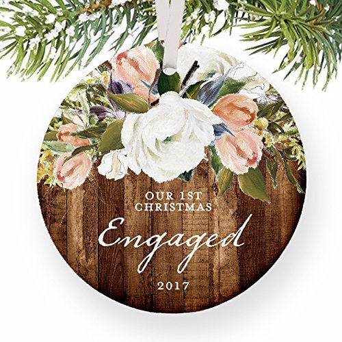 Rustic Engagement First Christmas Engaged Gift for Couple Getting Married Modern Floral Present Round Christmas Ornament Keepsake Xmas Tree Decoration Wedding Anniversary Present Christmas Gift Idea