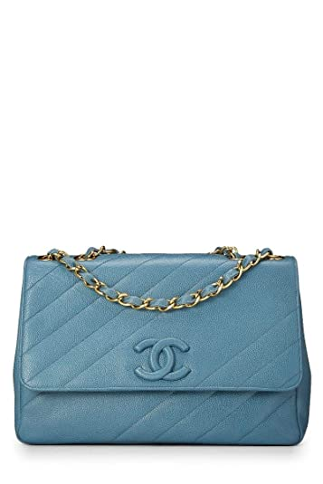 b9d89b88d4af Image Unavailable. Image not available for. Color: CHANEL Blue Diagonal  Quilted Caviar Jumbo Flap ...