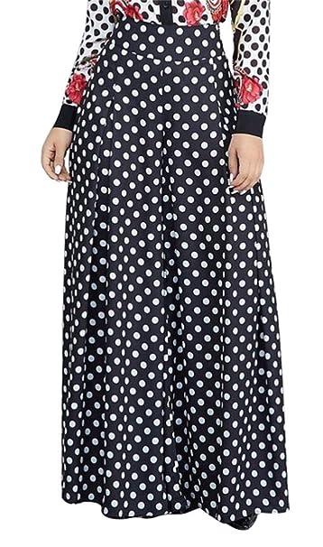 6cddb839d771 HuiSiFang Women's Casual Polka Dot Wide Leg Zip Long Pants High Waisted  Flare Trousers at Amazon Women's Clothing store: