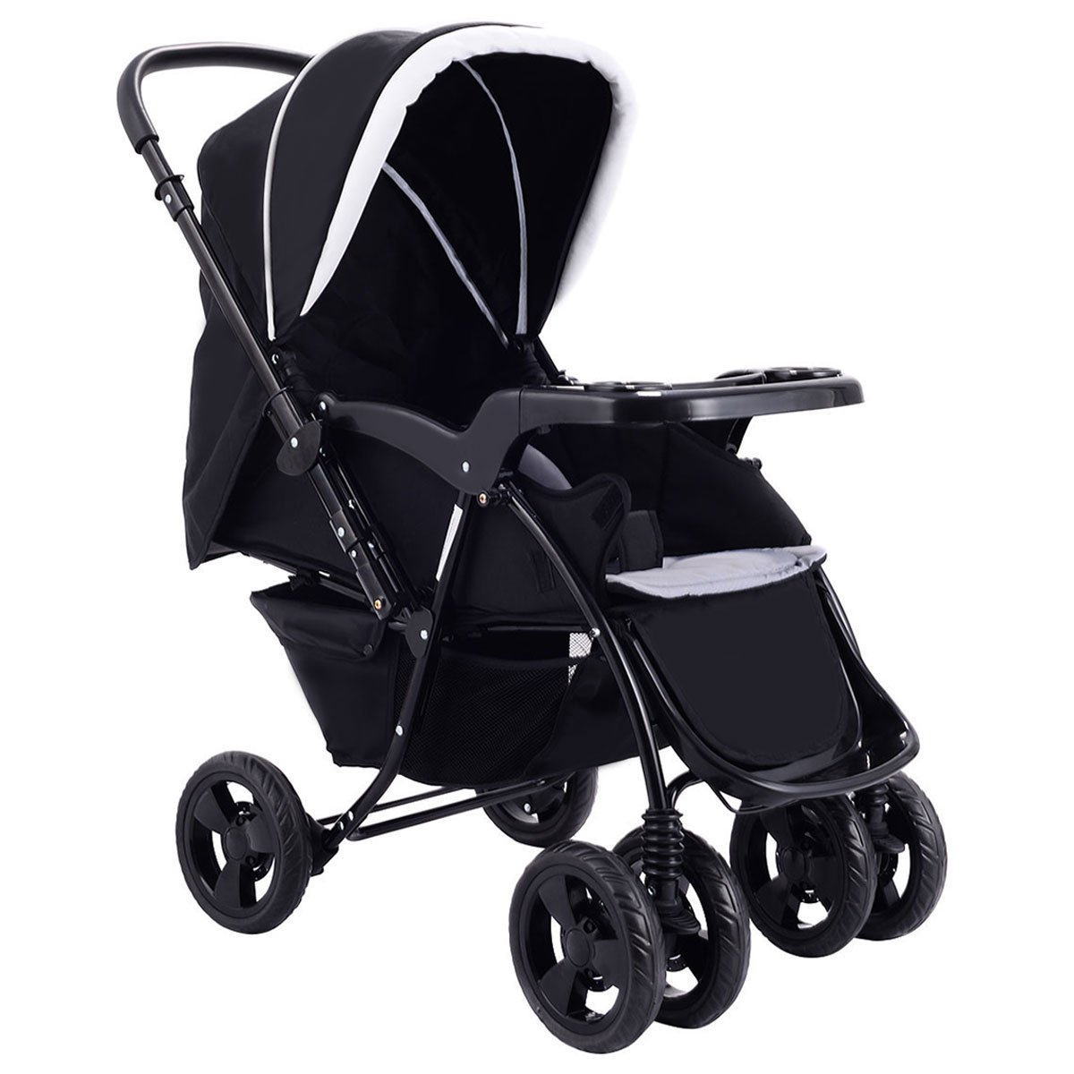 Two Way Stroller, Baby Foldable Conversable Pushchair w/5- Point Safety Harness, Sleeping Cushion, Storage Basket, Free Standing by Costzon (Sapphire Blue)