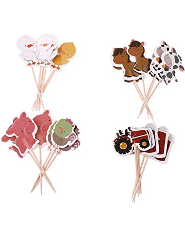 F Fityle 24x Cartoon Farm Animal Cake Topper Cupcake Picks Decoración De La Fiesta De Cumpleaños