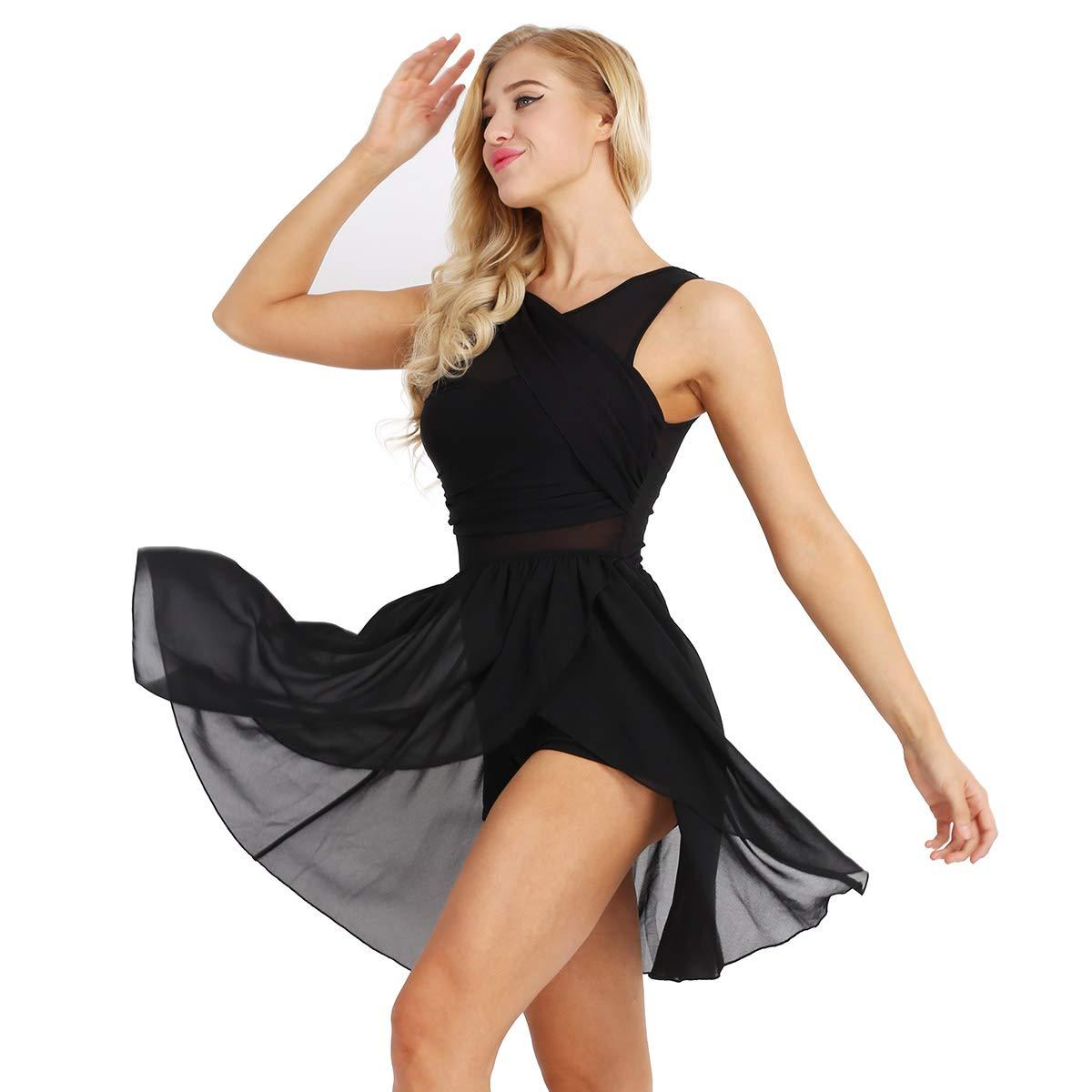 TiaoBug Femme Robe de Danse Classique Justaucorps de Danse Ballet Gymnastique Asym/étrique Robe Soir/ée Tutu Robe Latine Cancan Mousseline Robe sans Manche Bodysuit XS-XL