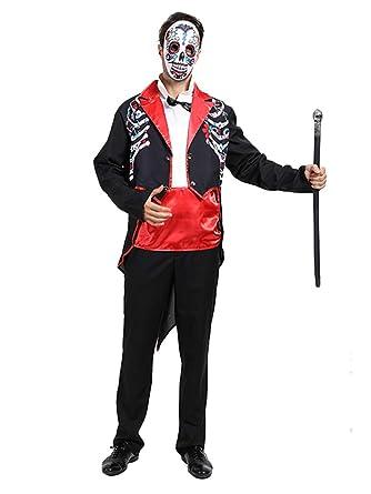 YONIER Disfraz para Adultos Día de Muertos Señor Bones Disfraz de ...
