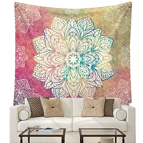 Indian Mandala Flower Printed Tapestry Wall Hanging Tapestries Boho Bedspread Beach Towel (Large/80