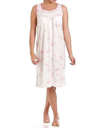 f79ccf2fb1 Ladies Lady Olga Jersey Cotton Rich Floral Sleeveless Nightwear Nightie:  Amazon.co.uk: Clothing