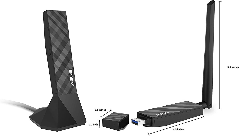 Renewed Asus Dual-band Wireless-AC1300 USB 3.0 Wi-Fi Adapter USB-AC56
