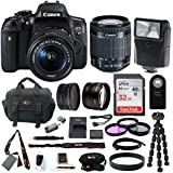 Canon EOS Rebel T6i Digital Camera: 24 Megapixel 1080p HD Video Wifi Enabled DSLR Bundle With Wide Angle 18-55mm Lens 32GB SD Card Mini Tripod & Filters - Professional Vlogging Sports & Action