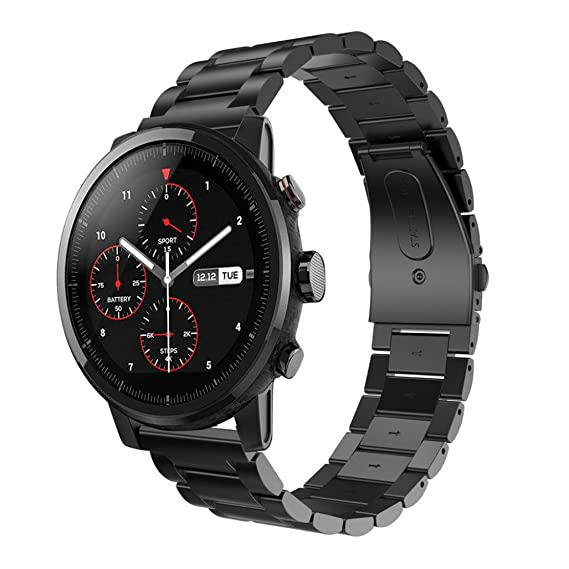 Malloom Correa de Acero Inoxidable Reloj Banda Hebilla de Metal para HUAMI Amazfit Stratos 2 (
