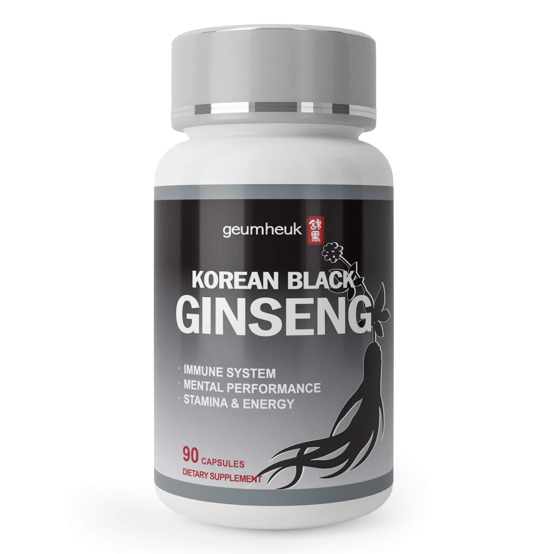 GeumHeuk Korean Black Ginseng Capsule 1000mg Supplement – Non GMO, High Ginsenosides, High Absorption Rate, Enhance Immunity, Metal Performance, Stamina Energy, Men Women – 90 Vegan Capsules