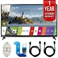 LG 43-Inch Super UHD 4K HDR Smart LED TV - 43UJ6300 (2017 Model) with 1 Year Extended Warranty + Accessories Bundle