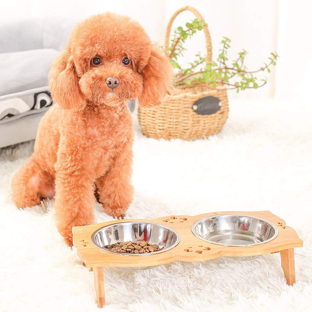 ANDRE HOME Stainless Steel Drinking Bowl Bamboo Shelf Cat Food Dog Food Bowl Pet Supplies